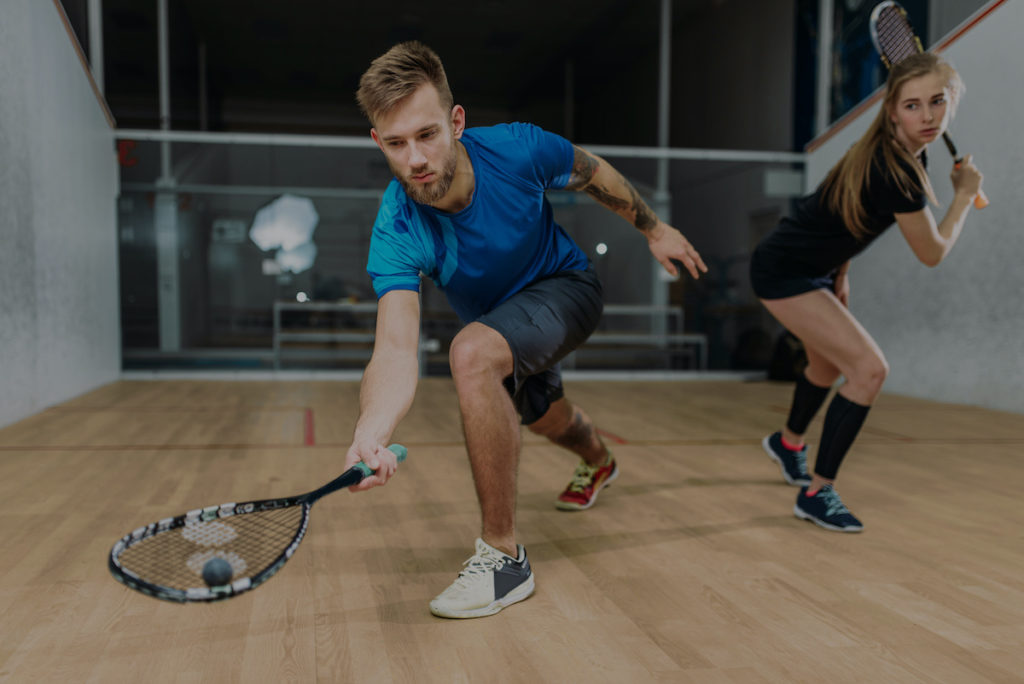 Squash spillere med ketchere